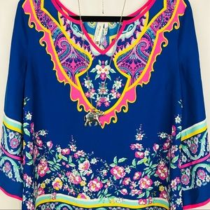 Anthropologie | Pink Owl Top | Blue | S
